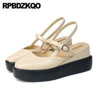 Обувь на платформе с рифленой подошвой, увеличивающая рост, на танкетке, размер 33, Китай, квадратный носок, летние босоножки на толстой подош