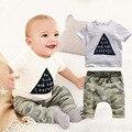 Bebé fijado ropa de verano impresión de La Manera del bebé ropa de bebé ropa de la muchacha conjuntos de ropa para niños t-shirt + pants bebé de la manera 2 unids