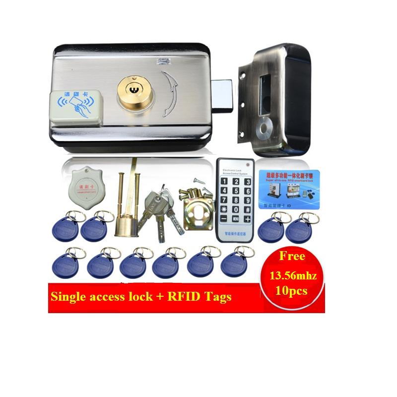 10pc tags Door & gate lock Access Control system Electronic integrated RFID Door Rim lock w/ 1000 users RFID reader for intercom