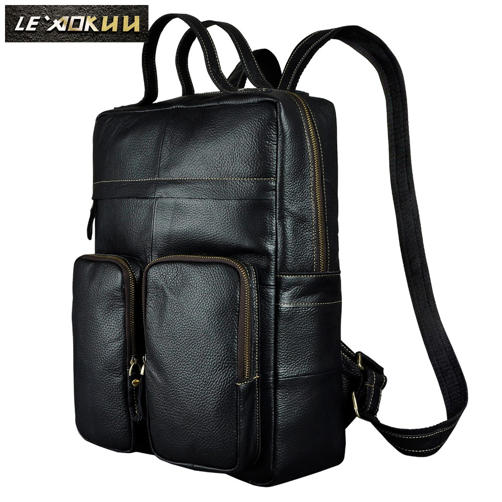 Quality Leather Heavy Duty Large Design Men Travel Casual Backpack Daypack Rucksack Fashion College School Book Laptop Bag 2107b new design male quality leather casual fashion travel laptop bag college student book school bag backpack daypack men 9999