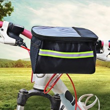 Large Capacity Polyester Bike Bicycle Front Basket Durable Waterproof Tube Handlebar Bag Outdoor Sport Accessories