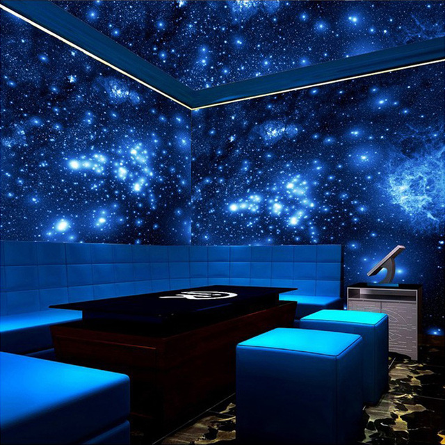 Customized size 3d stereo blue night universe space for Ceiling mural in a smoker s lounge