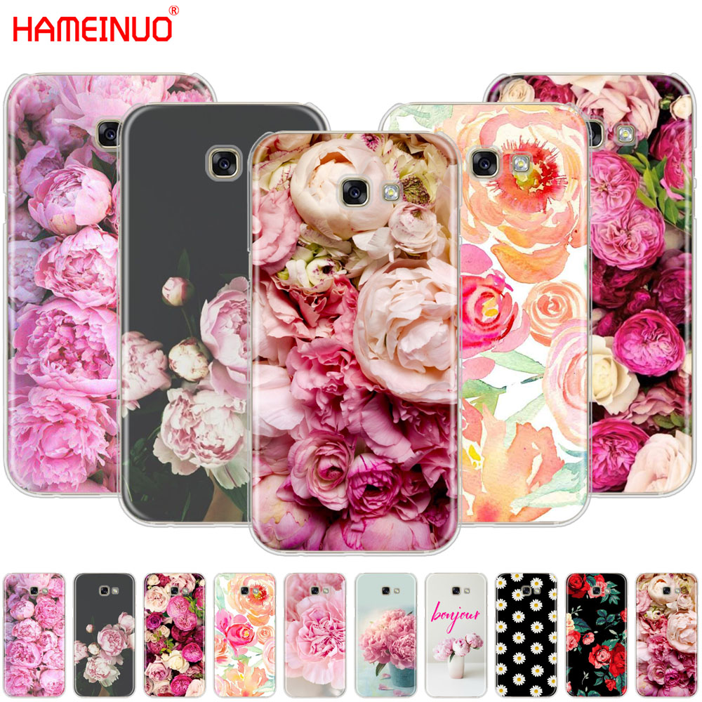 HAMEINUO Flower Pink Peonies cell phone case cover for Samsung Galaxy A3 A310 A5 A510 A7 A8 A9 2016 2017 2018 Сотовый телефон