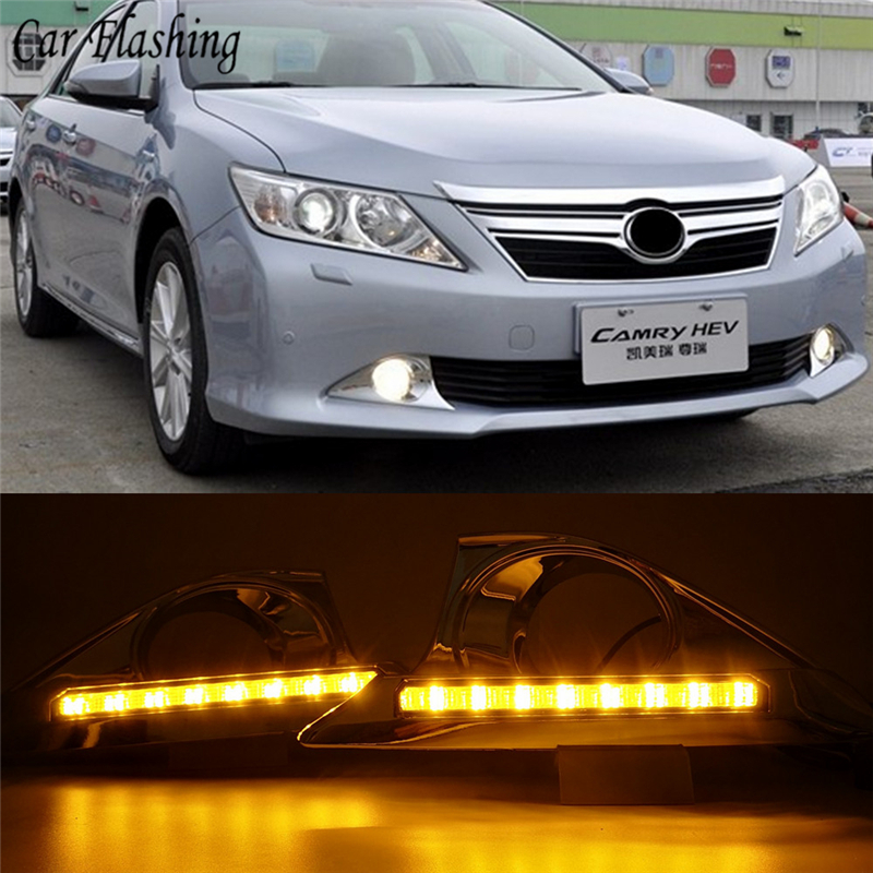 Car Flashing 1 Set drl For Toyota Camry 2012 2013 2014 LED DRL Daytime Running Lights