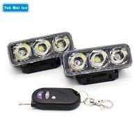 Tak Wai Lee 2x IR Zdalnego Sterowania LED Strobe Flash Ostrzeżenie DRL Światła Do Jazdy Dziennej 12 Trybów Dynamicznych Car Styling Mgła Pracy lampa