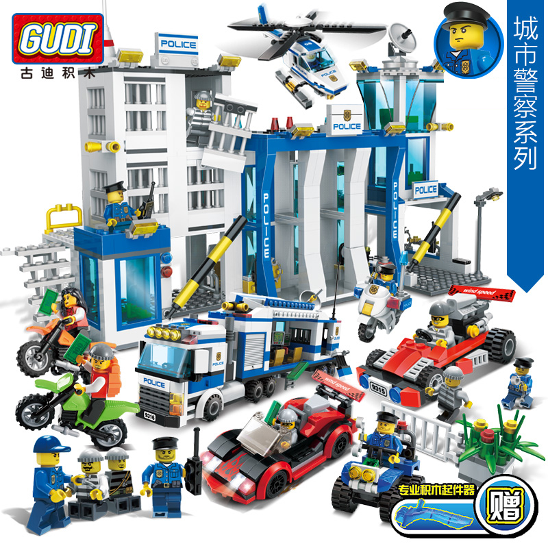 GUDI 9313~9320 City Police Series Building Blocks Car Helicopter Model Sets Figures Blocks Assembled Toys Cops Children DIY Toys city series police car motorcycle building blocks policeman models toys for children boy gifts compatible with legoeinglys 26014