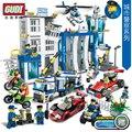 Gudi 9313 ~ 9320 serie bloques de construcción de coches de policía de la ciudad modelo de helicóptero conjuntos figuras policías montados bloques de juguetes de los niños diy juguetes