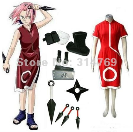 Naruto Cosplay Costumes Naruto Haruno Sakura Dress Women's 1st Uniform set for Fancy Halloween Party