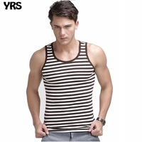 Summer Tank Top Men Cotton Striped Tight Gym Clothing Soft And Breathable