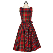 2015 New Women s Vintage Elegant Dress Audrey Hepburn Style Tartan Peplum Bow Work Party Dress
