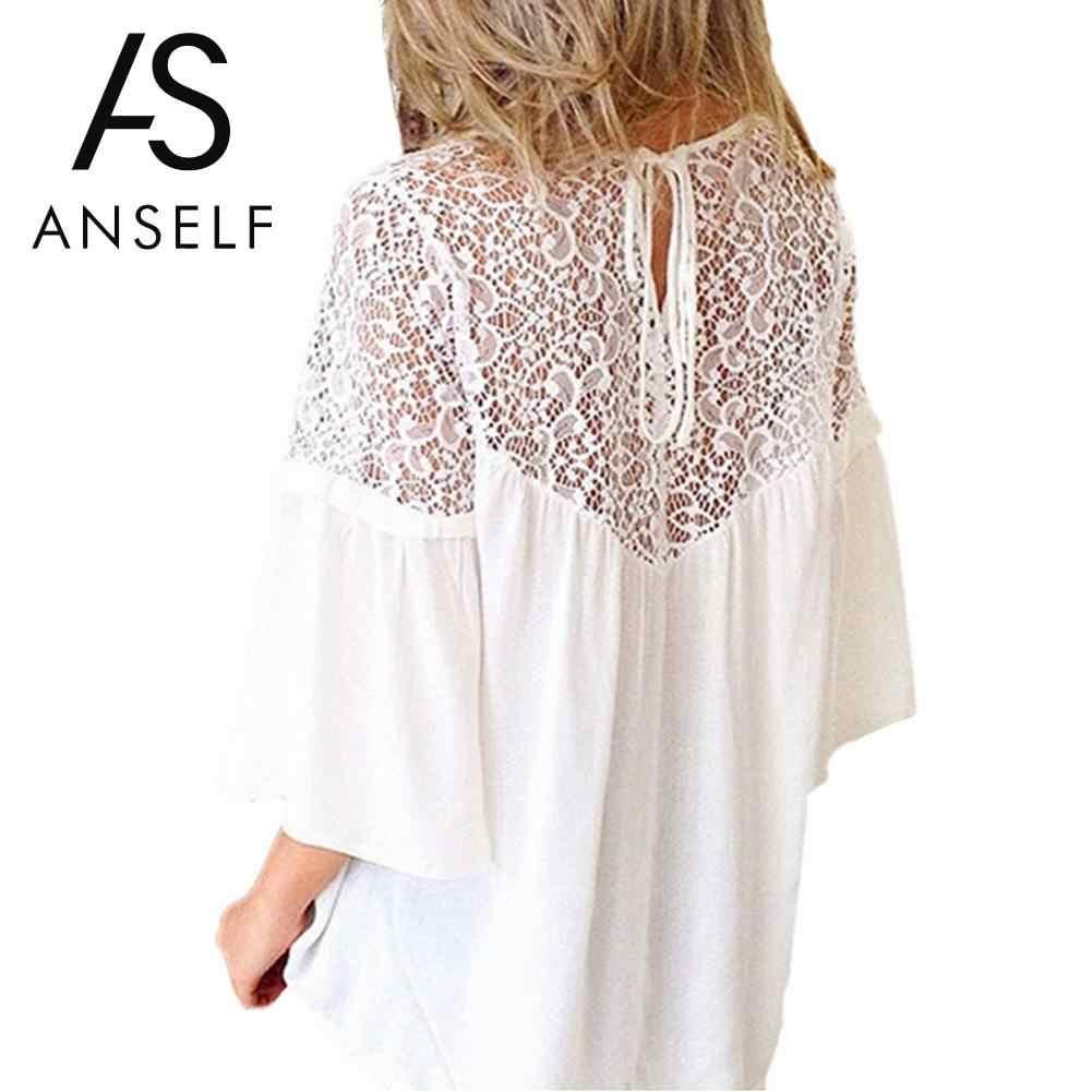94f41c033b0 Anself лето для женщин кружево Сращивание рубашка повседневное свободные шифоновая  блузка 3 4 Flare рукавом