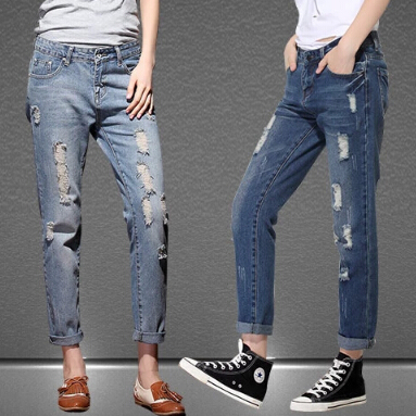 2016 Autumn New Fashion Cotton Jeans Women Loose Mid Waist Washed Vintage Hole Ripped Denim Harem Pants new summer vintage women ripped hole jeans high waist floral embroidery loose fashion ankle length women denim jeans harem pants