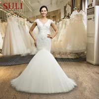 SL-034 VestidoเดN Oivaนางเงือกชุดแต่งงานที่กำหนดเองทำประดับด้วยลูกปัดไข่มุกหมวกแขนชุดเจ้าสาวลูกไม้ชุดแต่งงาน