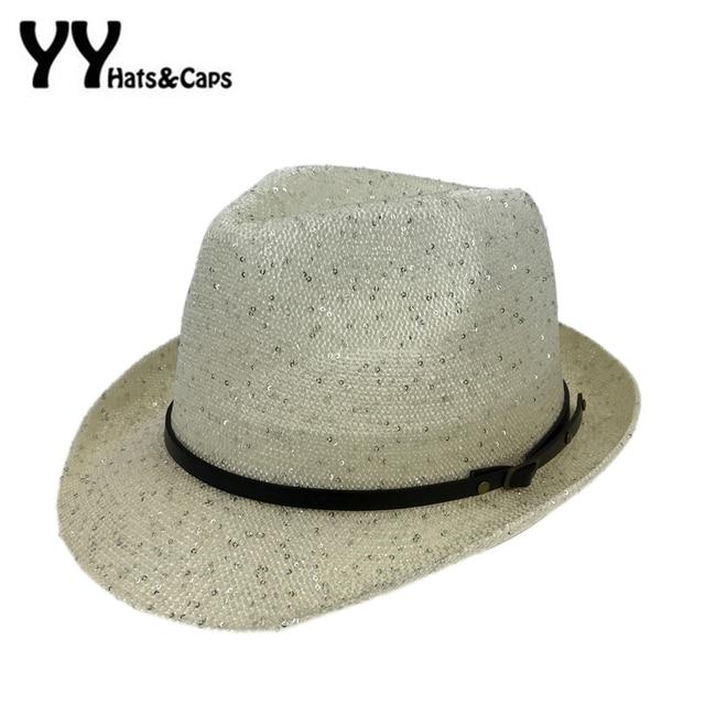 d02eb9b710e8c Chapeu Fedora Hats for Men New Vintage Trilby Women s Thin Brim Caps Shiny  Jazz hat Whit Belt Chapeu Panama Para Homens YY170002