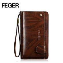 FEGER Men's Fashion Zipper Wallet Leather Casual Clutch Bag Large Capacity Wallet Clutch Purse Free Shipping