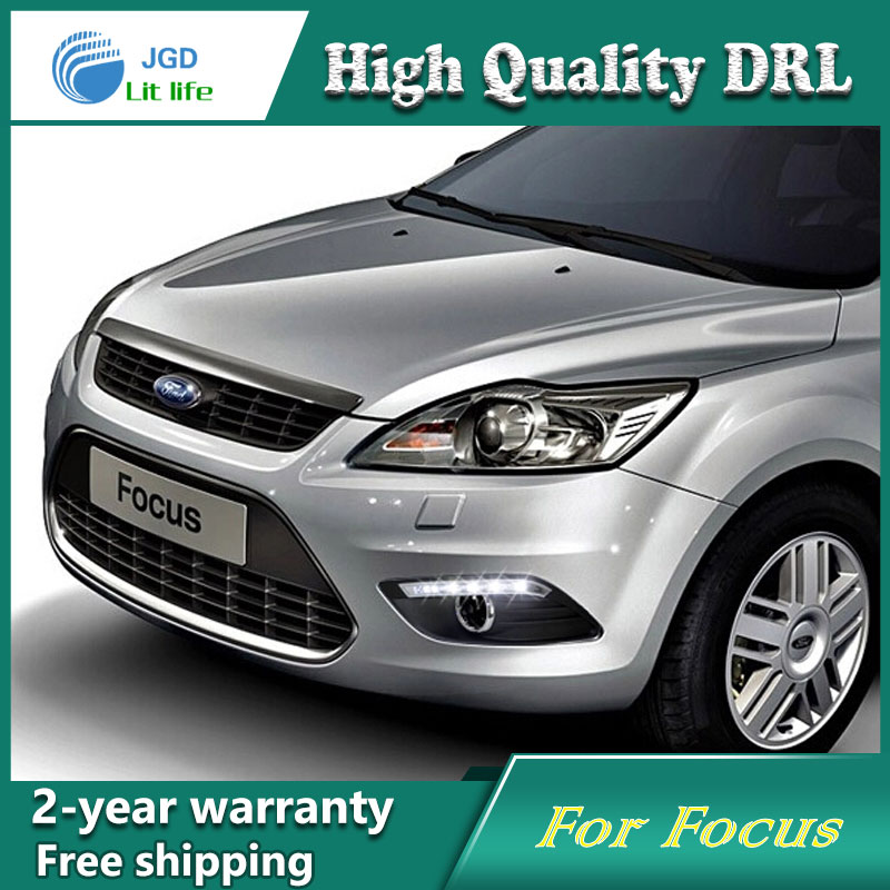 Free shipping !12V 6000k LED DRL Daytime running light case for Ford Focus 2009-2012 fog lamp frame Fog light Car styling ecahayaku 1set 12v waterproof daytime running light drl fog lamp with fog hole for ford focus hatchback 2009 2010 2011 2012 2013