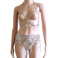 Crystal Beading Disco Exotic Tanks Crop Top Chain Sexy Mini Skirt Bodysuits Rave Bra Festival Fashion Wear Party Jewelry CRS620