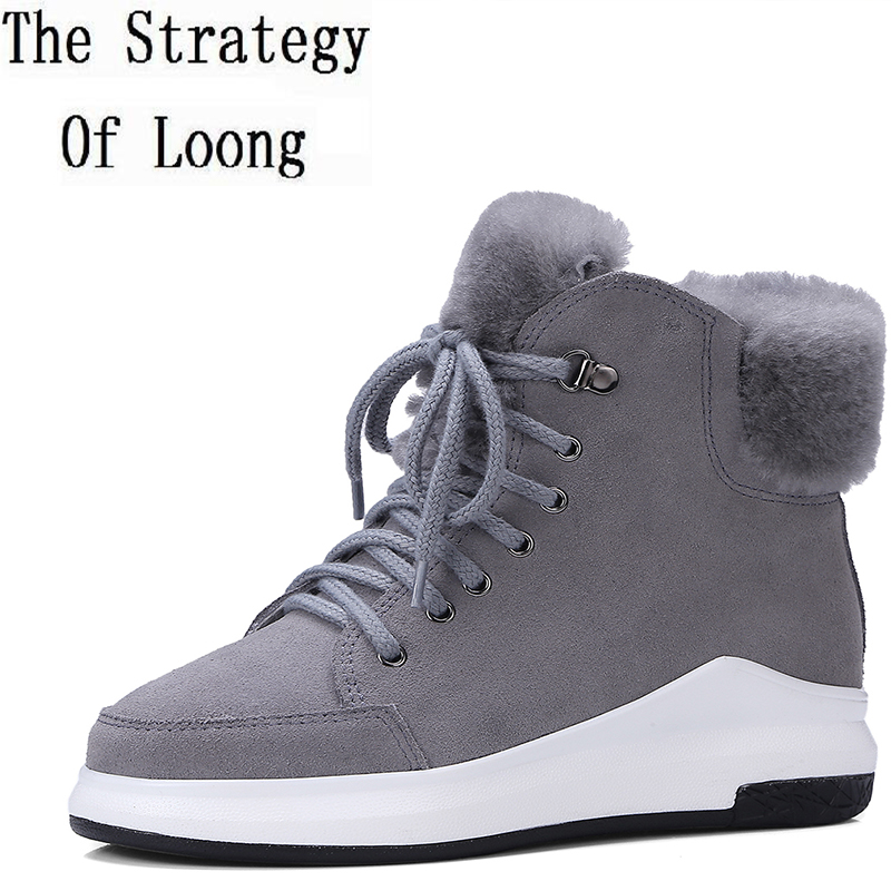 Women Genuine Leather Lace Up Flat Chunky Snow Boots 2017 New Arrival Patchwork Round Toe Winter Nubuck Leather Boots ZY171026 only true love new arrival genuine leather women fashion flat heels equestrian snow boots round toe women boots