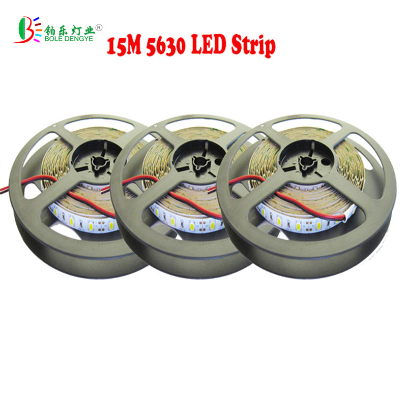 15M LED Strip 5630 Non Waterproof 5730 Cool White Flexible Tape Light Fita Diode Warm White SMD Dimmable Brighter than 5050 Kit