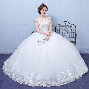 Image 4 - 2020 חדש Vintage חתונת שמלות גברת Win קצר שרוול כדור שמלת נסיכת חתונת שמלות Vestido דה Noiva Robe דה Mariee F