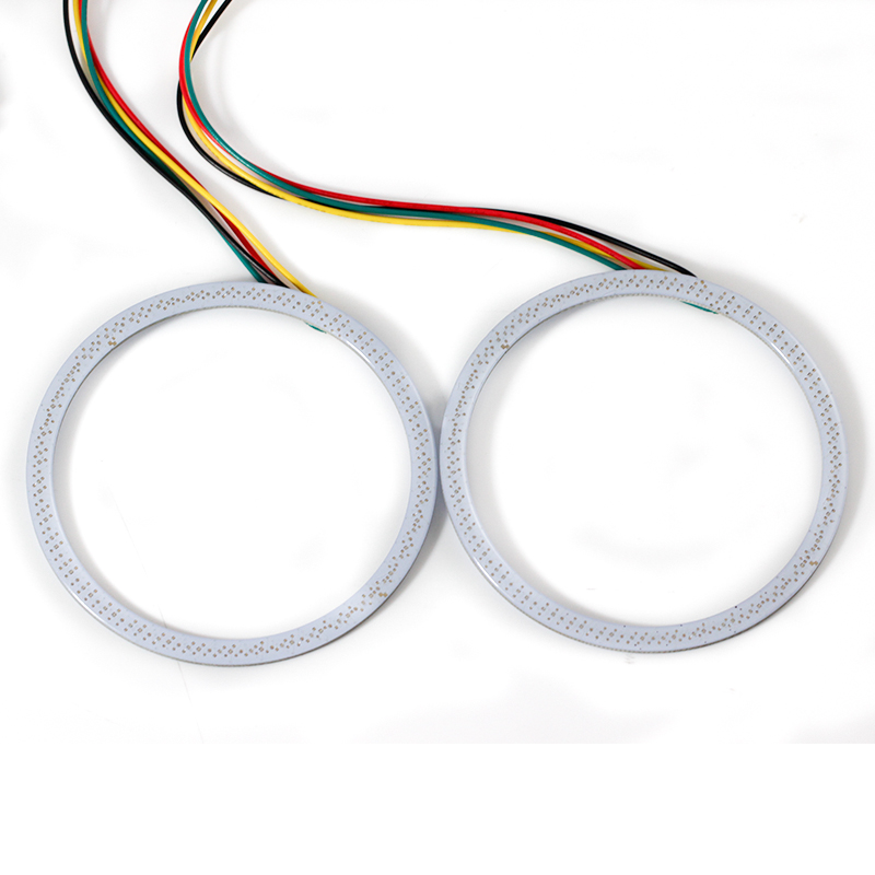 Car-styling Universal MultiColor 80mm 81 LED chips RGB LED Angel Eyes Light Headlight Halo Ring Remote Control Kit for BMW E46 4 90mm rgb led lights wholesale price led halo rings 12v 10000k angel eyes rgb led angel eyes for byd for chery for golf4