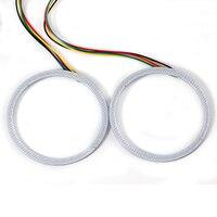 Car-styling Universal MultiColor 80mm 81 chips de LED RGB LED Ángel ojos Faro de Halo Anillo de Luz Kit de Control Remoto para BMW E46