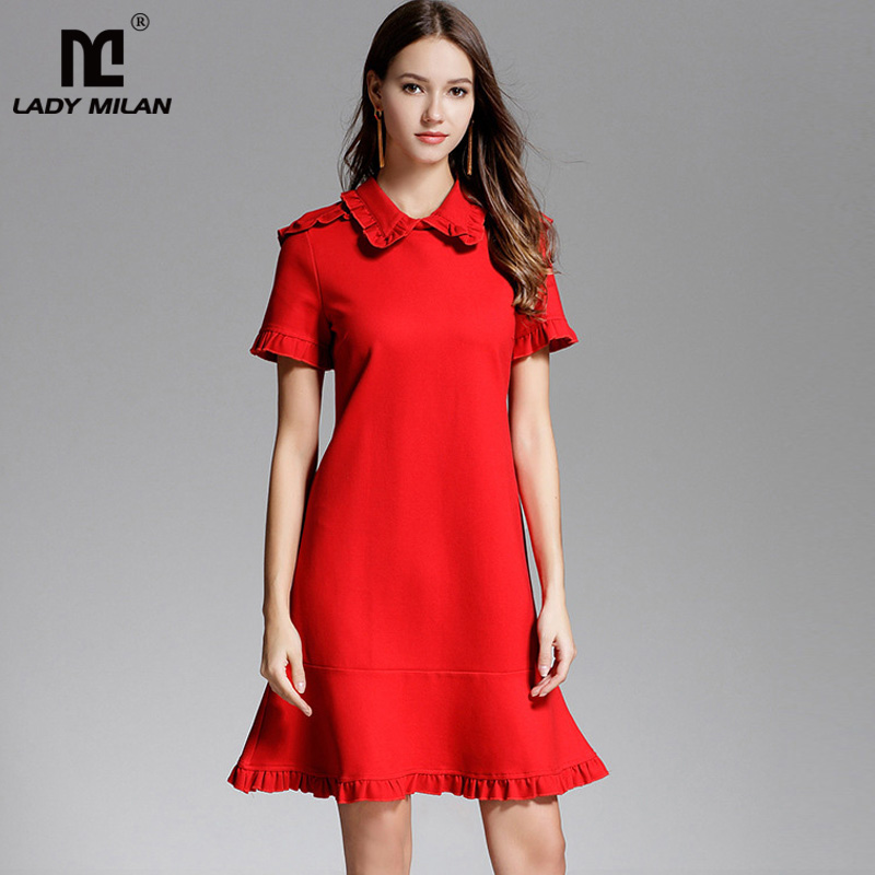 New Arrival 2018 Womens Peter Pan Collar Short Sleeves Ruffles A Line High Street Fashion Casual Short Dresses