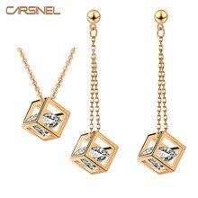 071968aef237 Carsinel cubo novia Juegos de joyería oro-color cubic ZIRCON collar y  pendiente largo para las mujeres CZ joyería conjunto js005.