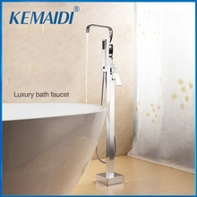 kemaidi floor standing bathtub faucets brass chrome free standing bath shower mixer set bath tub faucet with handshower