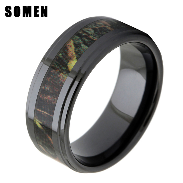 8mm Men S Black Ceramic Wood Inlay Wedding Ring Real Zebra Wooden Camo Fashion Male Jewelry