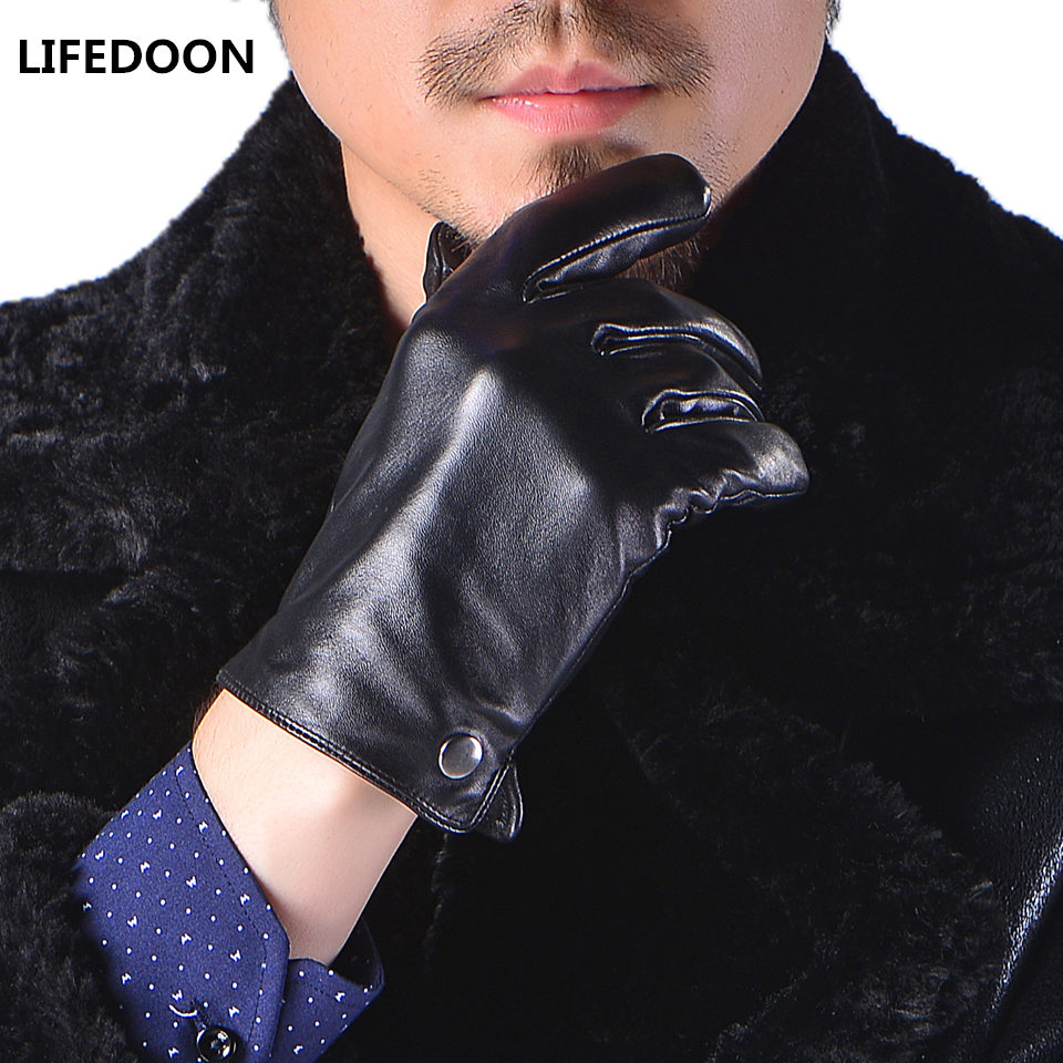 Mens leather gloves black friday - Men Genuine Leather Gloves Touchscreen Mittens High Quality Real Sheepskin Leather Gloves Men Winter