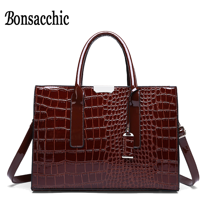 29154f149ebc2 Weibliche Rote Tasche Große Dame handtasche Krokodil Luxus Handtaschen  Frauen Taschen Designer Damen Leder Handtasche Bolsa Feminina Bonsacchic