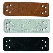 48pcs/lot Sewing machine Handmade leather labels for clothing scissors logo hand made gift  leather label for hat Handcraft win win logo hand made leather labels for gift sewing win logo hand made tags for clothes gift handmade leather sewing label