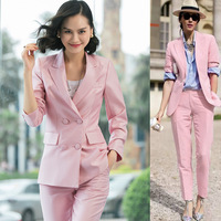 Women 2 Piece/set Business Blazer Suit Set Slim Fit Professional Female Long Sleeve Pant Suits Fashion Ladies Office Work Wea