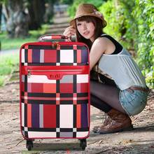 Plaid trolley luggage female male universal wheels luggage travel bag soft the box luggage password box leather bags