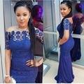 Africano nigéria Real Laço Azul Sereia Vestidos de Noite Sexy Longo Prom Vestidos Boat Neck Mangas Curtas Plus Size Robe De sarau