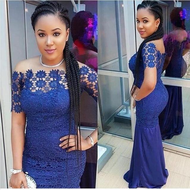 Nigeria Bleu Royal Dentelle Sirène Robes De Soirée Sexy Longue Africain  Robes de bal Bateau Cou