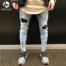 Kanye West Ripped Jeans For Men Male Skinny Distressed Slim Famous Brand Designer Biker Hip Hop Black Denim Hole Jeans Pants