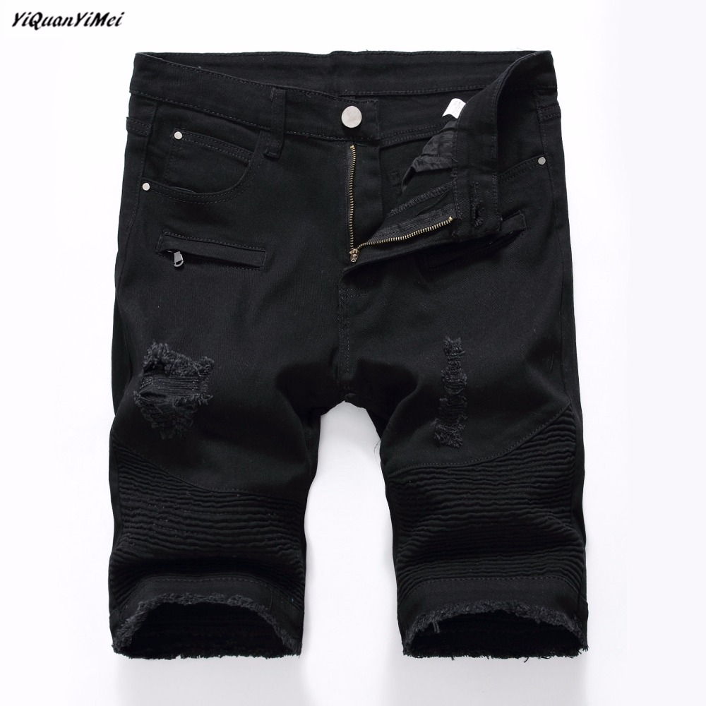 YiQuanYiMei Hole Mens Jean Shorts Knee Length Jeans Distressed Pleated Pants Skinny Biker Short Jean Pants