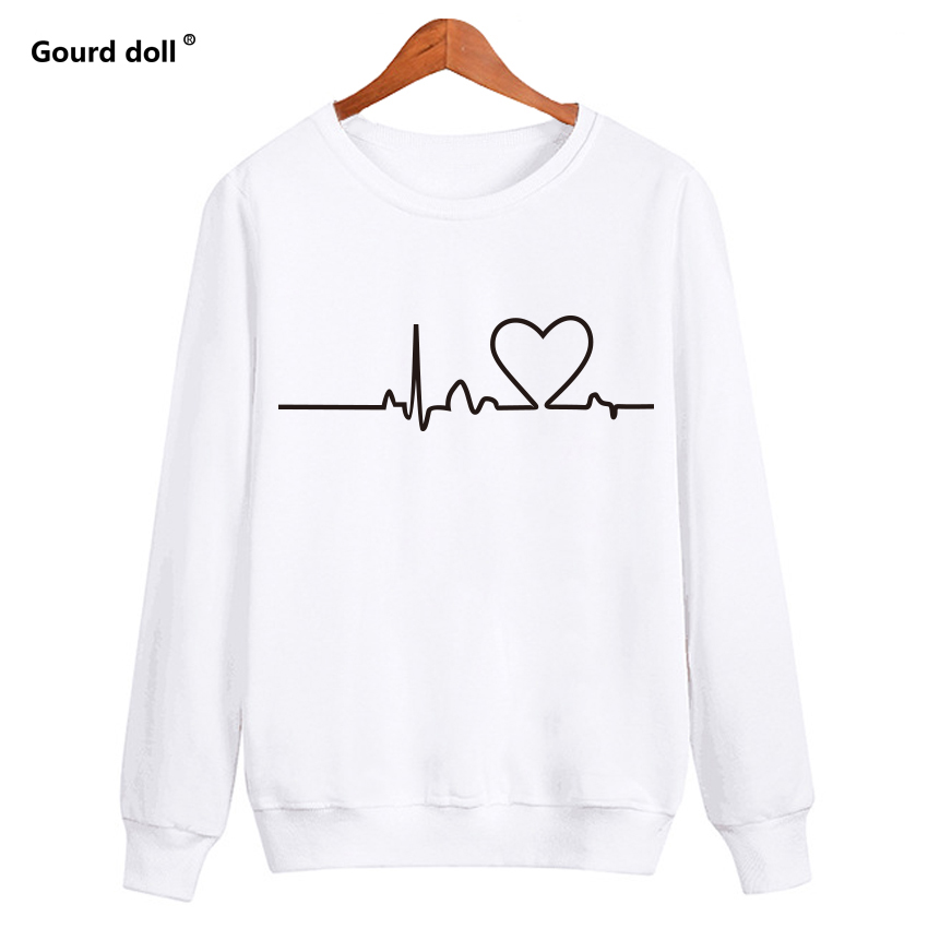 Autumn Casual Floral Heartbeat Sweatshirts Women Long Sleeve Pullover Black  white Embroidered Female Sweatshirt kawaii clothes-in Hoodies   Sweatshirts  from ... 0f1922c9c