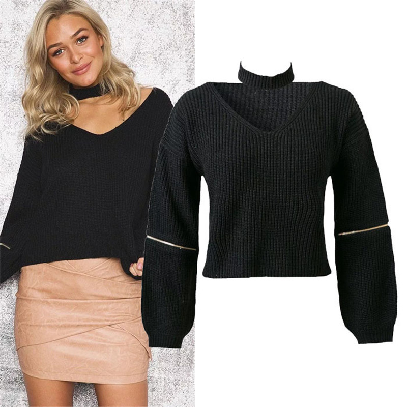 Fashion Women Solid Color Knitting Pullover Female Chic Chok Sweater Women Choker Knit Jumper Long Sleeve Loose Casual Sweaters