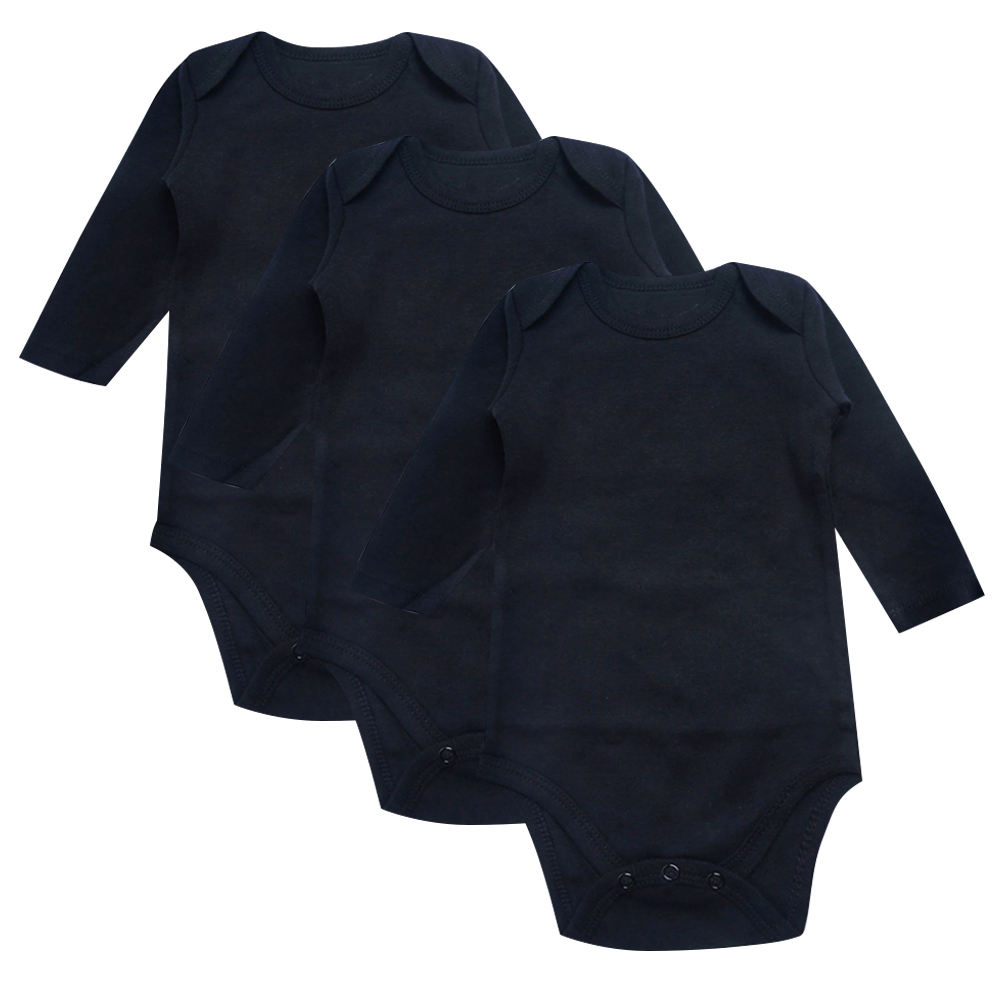 Newborn Baby Bodysuit Black 3 Pack 100% Cotton Long Sleeve Place Unisex Baby Bodysuits For Boys Girls 0-12 Months Infant Clothes