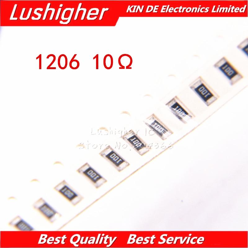 100PCS 1206 SMD Resistor 5% 10 Ohm 100 10.0ohm 10R0