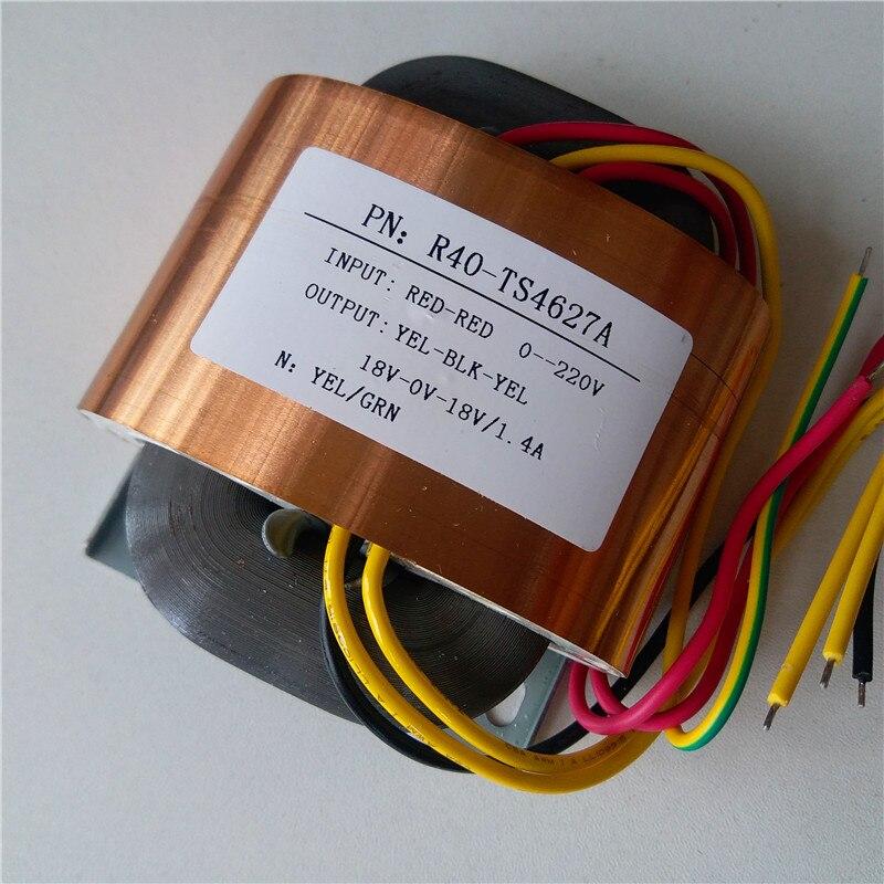 18V-0-18V 1.4A R Core Transformer 50VA 220V input R40 custom transformer copper shield Power amplifier