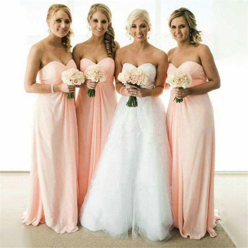 Simple Pink Chiffon Bridesmaid Dresses Strapless A Line Pleat Long Dresses For Wedding Party 2019 Cheap Maid Of Honor Gowns