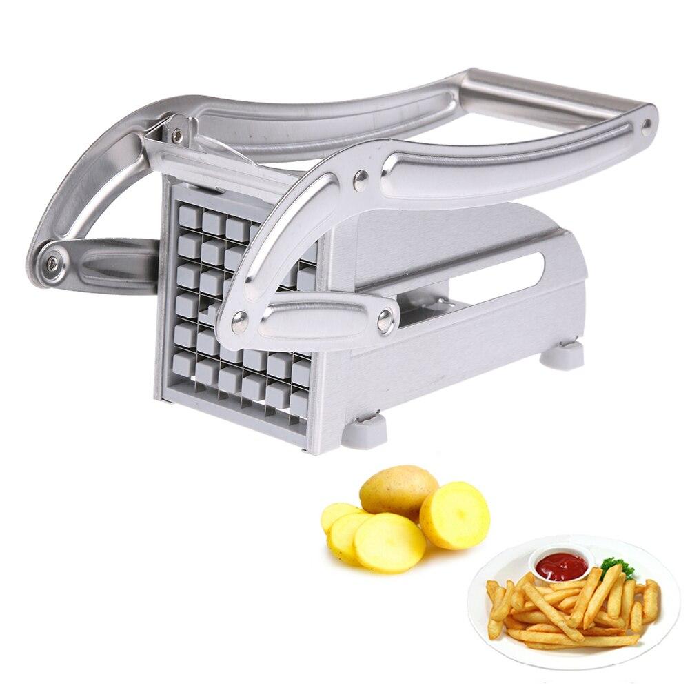 Edelstahl Französisch Frites Schneider Kartoffel Chips Streifen Schneiden Maschine Maker Slicer Chopper Dicer W/2 Klingen Küche Gadgets