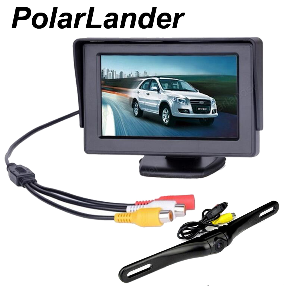 4.3 inch Car Rear View monitor Waterproof rearview Reverse Backup Camera 2 ch video input parking system display
