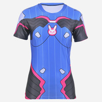 Game OW Watch Over D Va Cosplay Costume Women T Shirt Female Short Sleeve Tops Tee
