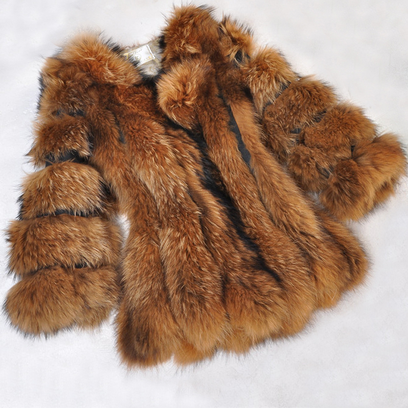 Luxury 100% Real Whole Fox Fur Mix Pig Fur Coat Natural Warm Winter Thick True Natural Pure Genuine Fox Fur Overcoat SR36