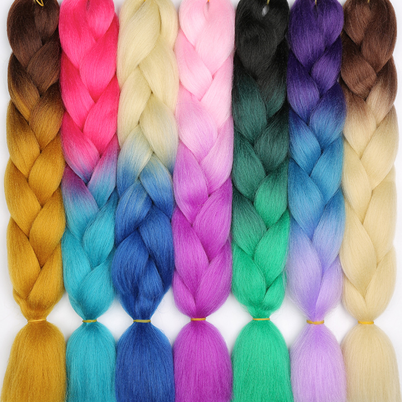 Hair Braids Lisi Hair 24 Inch Jumbo Braiding Kanekalon Crochet Braids Synthetic Hair Ombre Blonde Pink Green Hair Extensions Hairstyle 100g